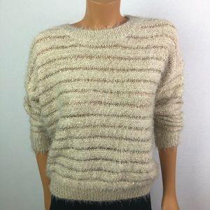 Qed London fluffy comfy striped beige sweater SzSM